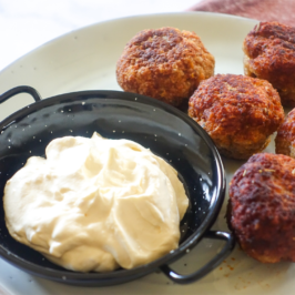 Turkey Meatballs with Horseradish Dip